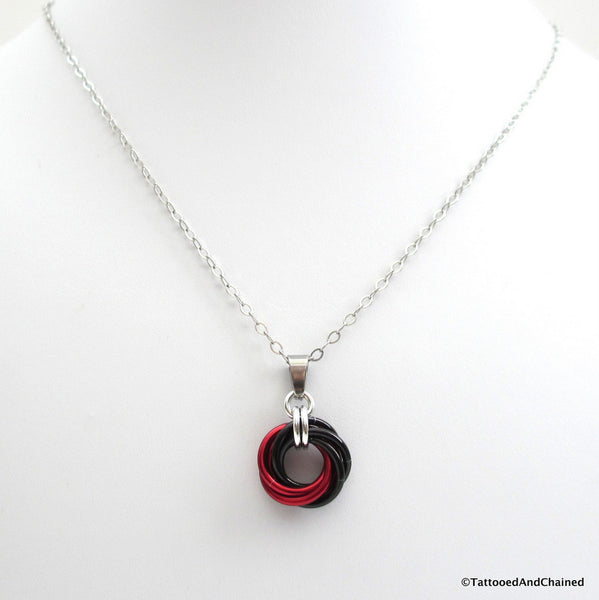 Red and black pendant, chainmaille love knot - Tattooed and Chained Chainmaille  - 5