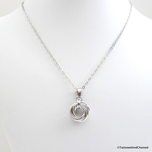 Silver love knot chainmaille pendant necklace - Tattooed and Chained Chainmaille  - 3