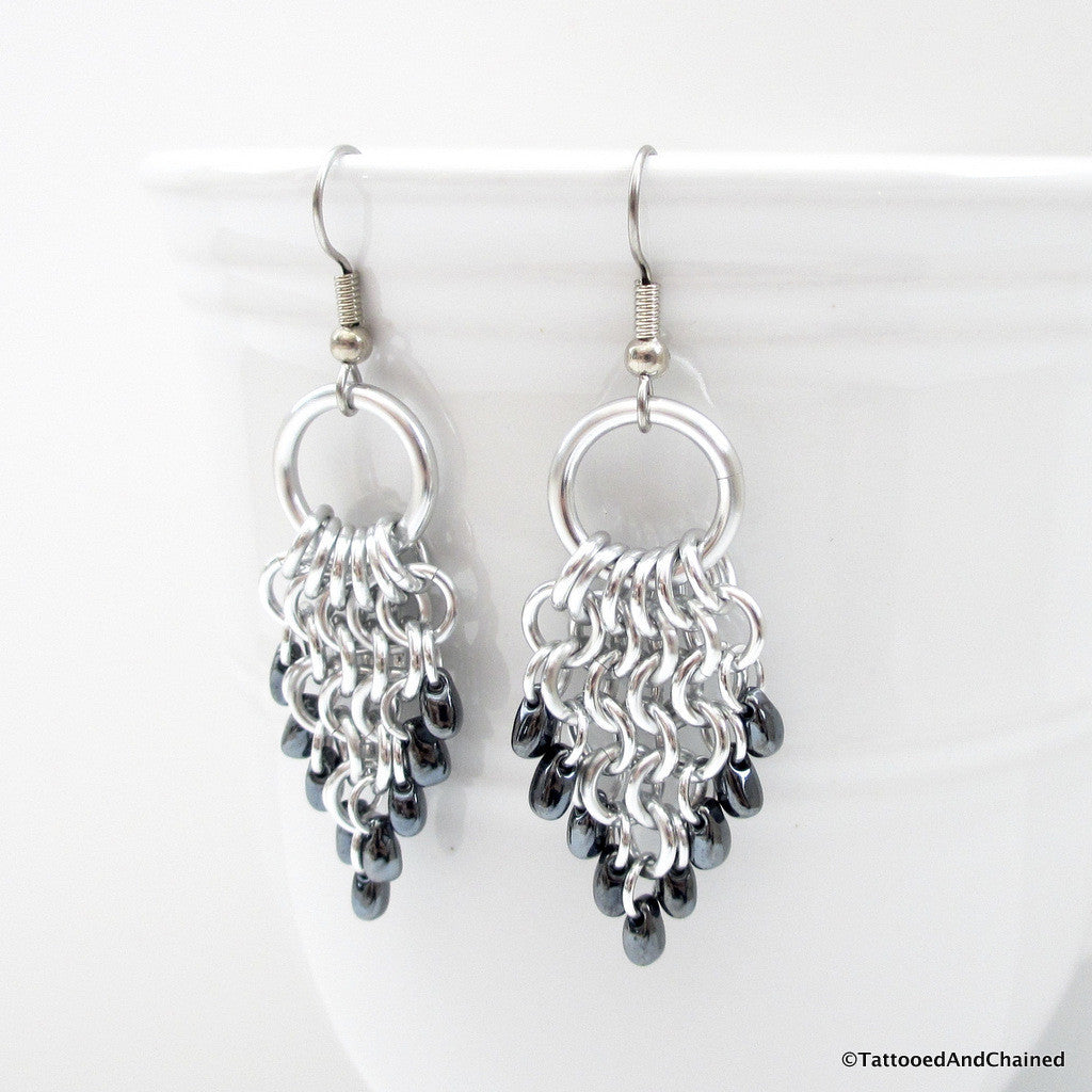 Hematite beaded chainmaille earrings, leaf shaped Euro 4 in 1 - Tattooed and Chained Chainmaille  - 1