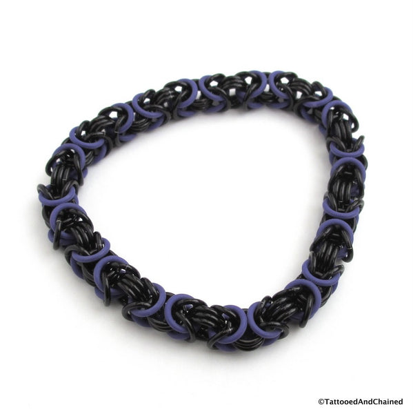 Byzantine chainmaille stretchy bracelet, purple and black - Tattooed and Chained Chainmaille  - 5