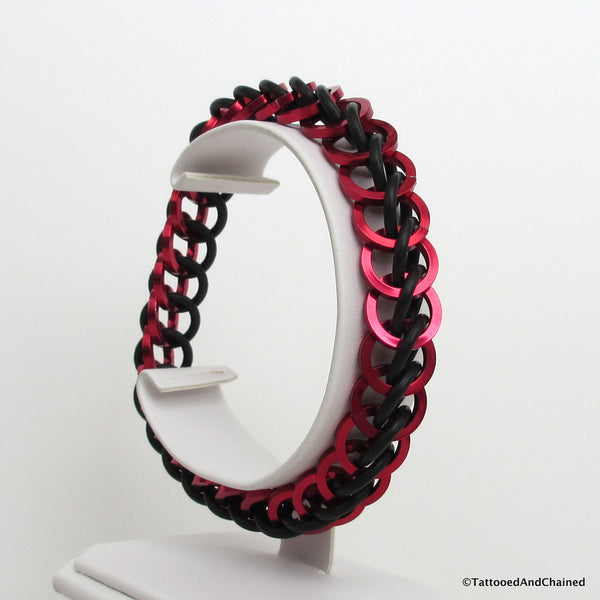 Half Persian 3 in 1 chainmaille stretchy bracelet, red and black square wire - Tattooed and Chained Chainmaille  - 3