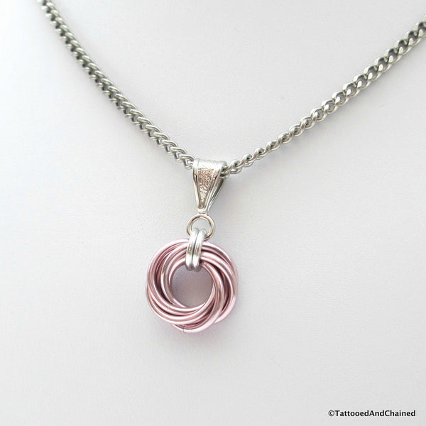 Pastel pink pendant, chainmaille love knot - Tattooed and Chained Chainmaille  - 4