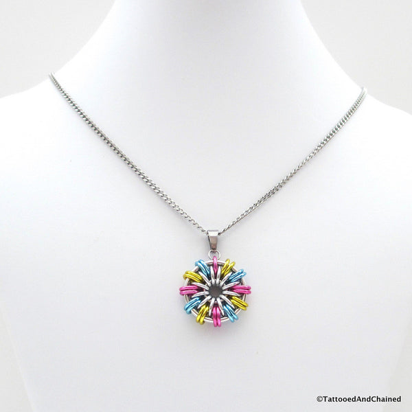 Pansexual pride pendant; pink, yellow, light blue - Tattooed and Chained Chainmaille  - 4