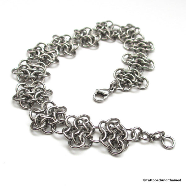 Stainless steel anklet, chainmaille rosettes weave - Tattooed and Chained Chainmaille  - 5