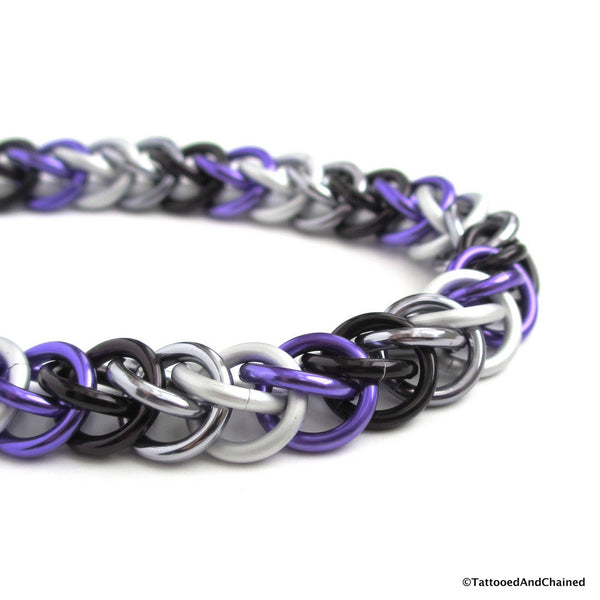 Ace pride bracelet, chainmaille half Persian 3 in 1 weave - Tattooed and Chained Chainmaille  - 4