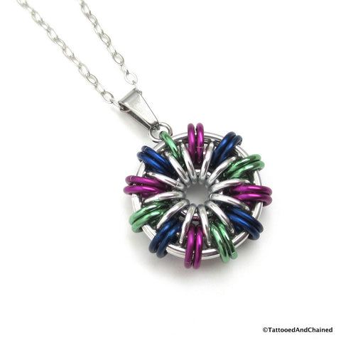 Green, violet, and blue chainmaille pendant - Tattooed and Chained Chainmaille  - 1