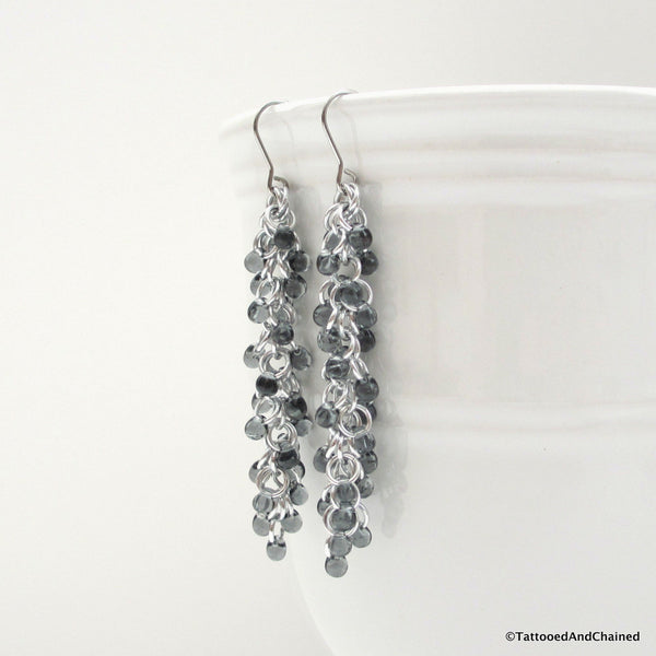 Gray beaded chainmaille earrings, Shaggy Loops weave - Tattooed and Chained Chainmaille  - 5
