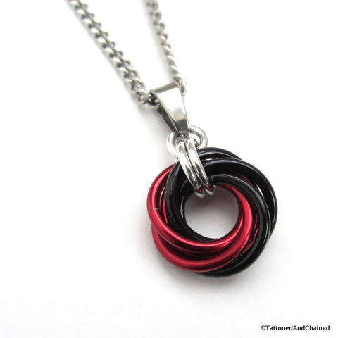 Red and black pendant, chainmaille love knot - Tattooed and Chained Chainmaille  - 1