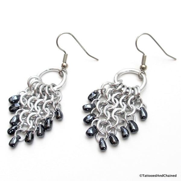 Hematite beaded chainmaille earrings, leaf shaped Euro 4 in 1 - Tattooed and Chained Chainmaille  - 2