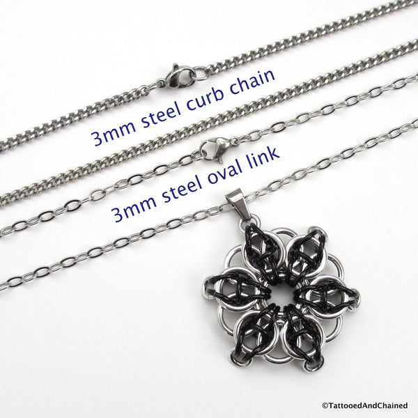 Black chainmaille pendant, Celtic star - Tattooed and Chained Chainmaille  - 2