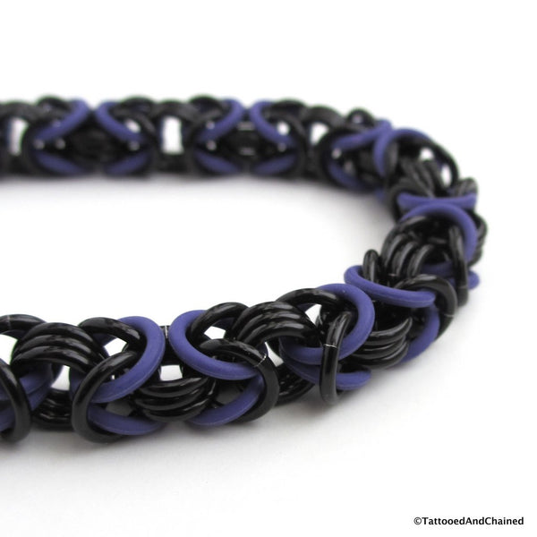 Byzantine chainmaille stretchy bracelet, purple and black - Tattooed and Chained Chainmaille  - 3