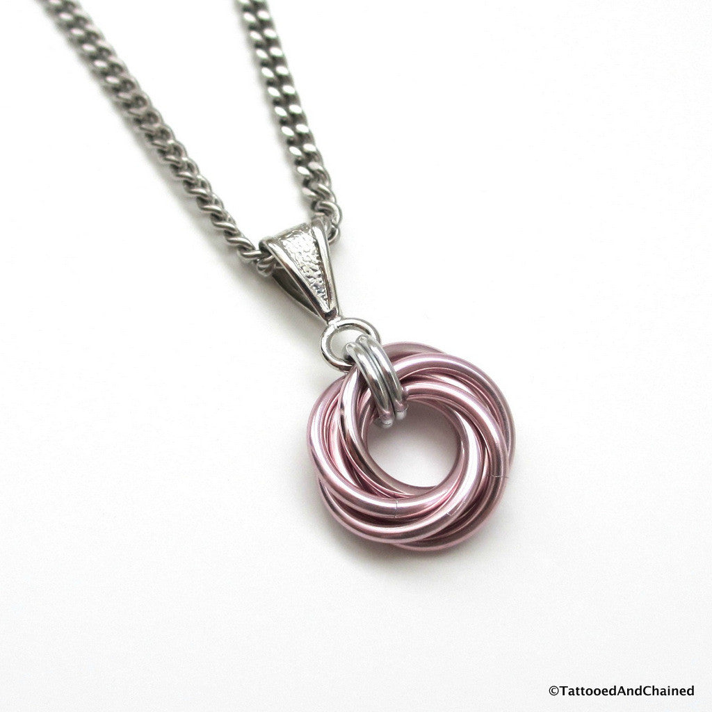 Pastel pink pendant, chainmaille love knot - Tattooed and Chained Chainmaille  - 1