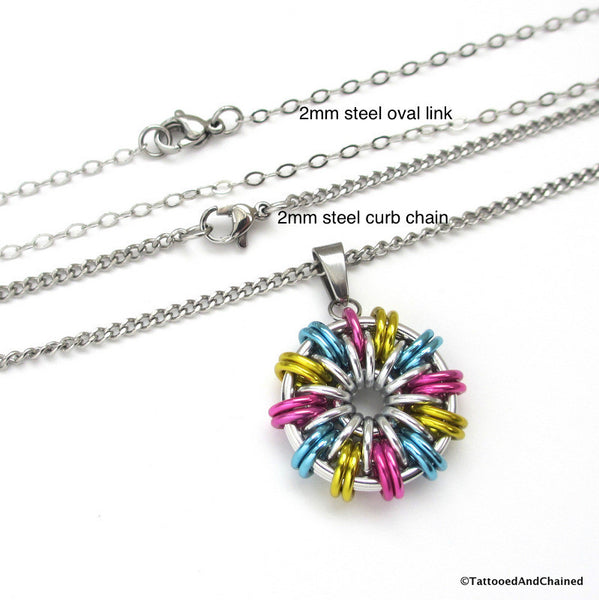 Pansexual pride pendant; pink, yellow, light blue - Tattooed and Chained Chainmaille  - 2