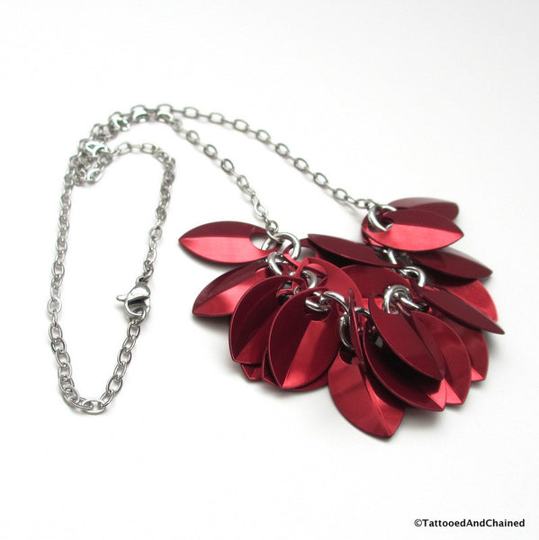 Red chainmaille scales necklace - Tattooed and Chained Chainmaille  - 5