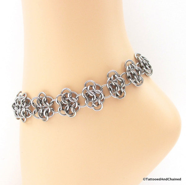 Stainless steel anklet, chainmaille rosettes weave - Tattooed and Chained Chainmaille  - 1
