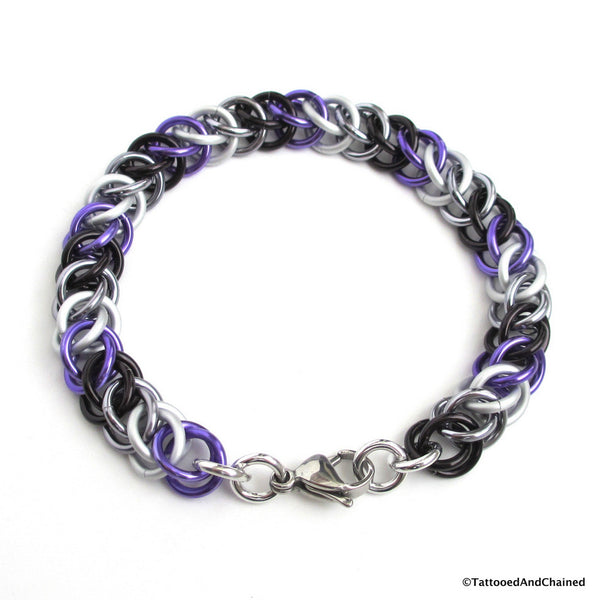 Ace pride bracelet, chainmaille half Persian 3 in 1 weave - Tattooed and Chained Chainmaille  - 3
