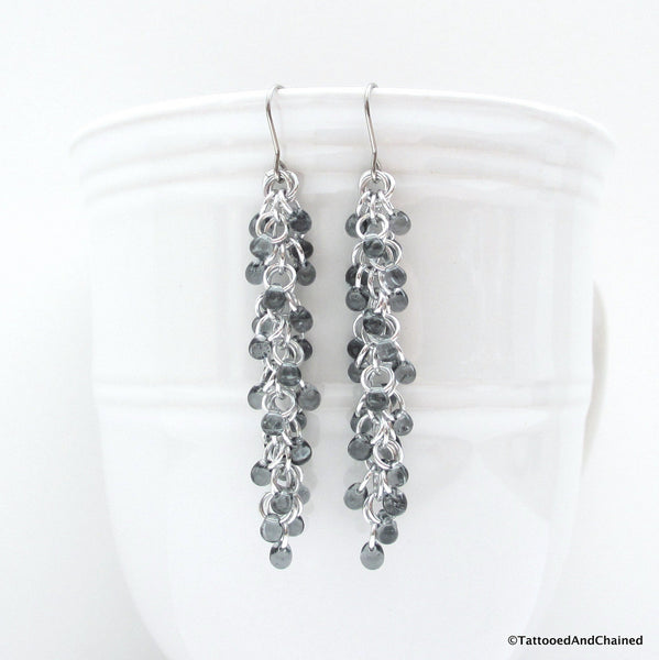 Gray beaded chainmaille earrings, Shaggy Loops weave - Tattooed and Chained Chainmaille  - 1