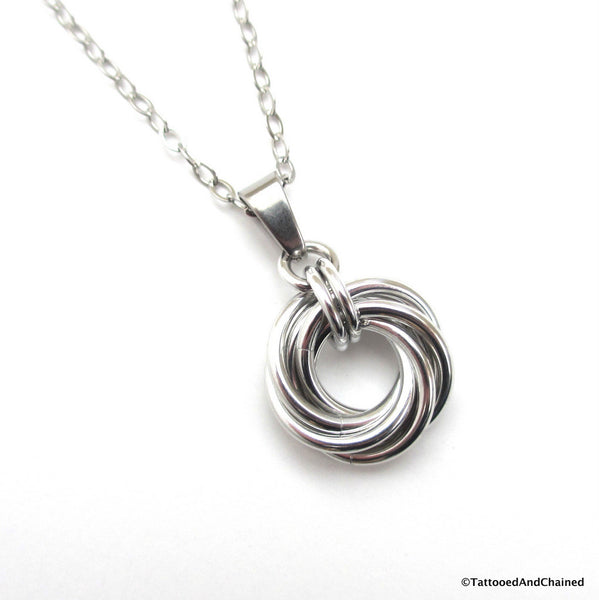 Silver love knot chainmaille pendant necklace - Tattooed and Chained Chainmaille  - 1