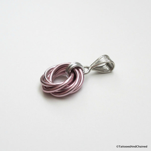 Pastel pink pendant, chainmaille love knot - Tattooed and Chained Chainmaille  - 2