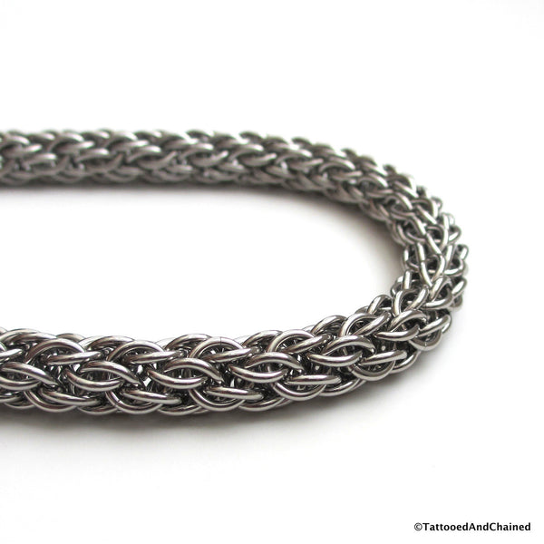 Stainless steel wallet chain, chainmaille candy cane cord weave - Tattooed and Chained Chainmaille  - 2