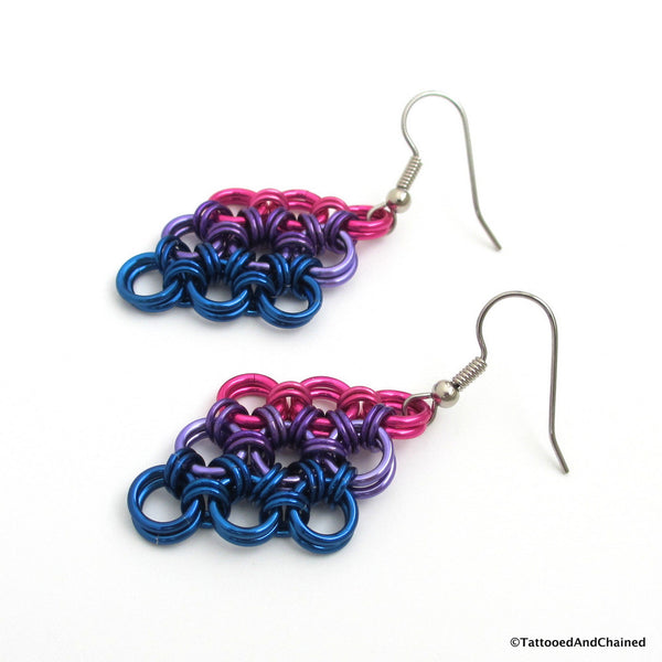 Bisexual pride earrings, chainmaille Japanese 12 in 2 weave - Tattooed and Chained Chainmaille  - 5