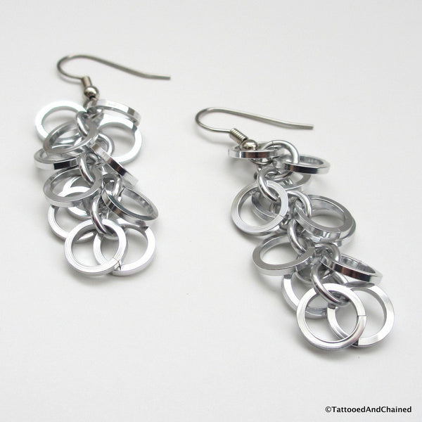 Square wire shaggy loops chainmaille earrings - Tattooed and Chained Chainmaille  - 4