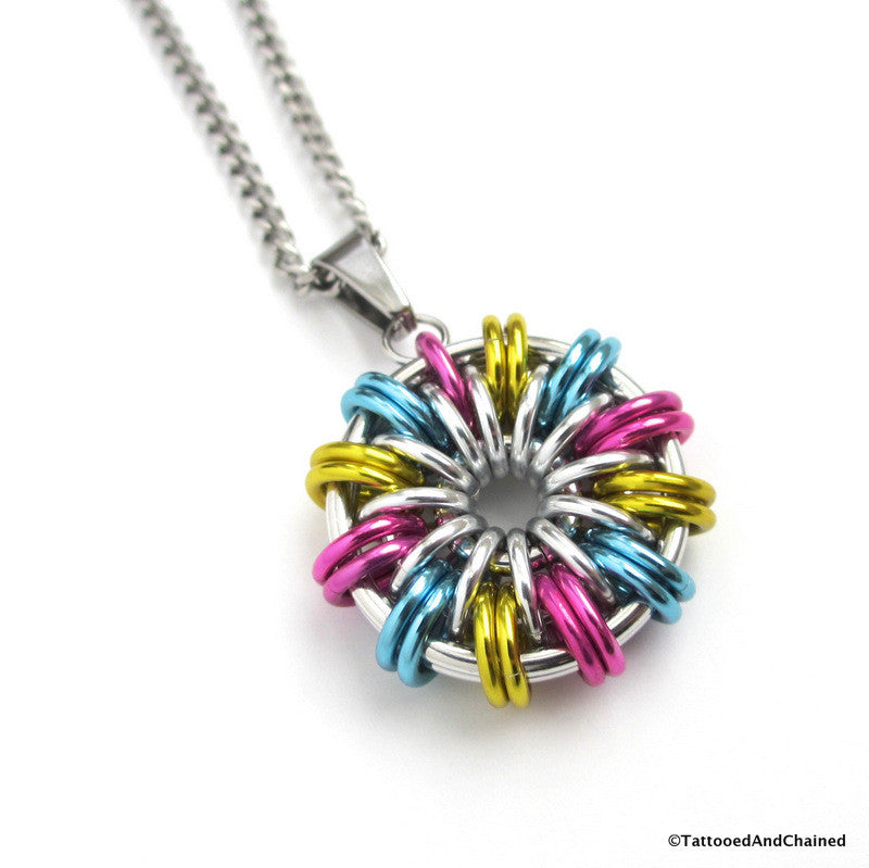 Pansexual pride pendant; pink, yellow, light blue - Tattooed and Chained Chainmaille  - 1