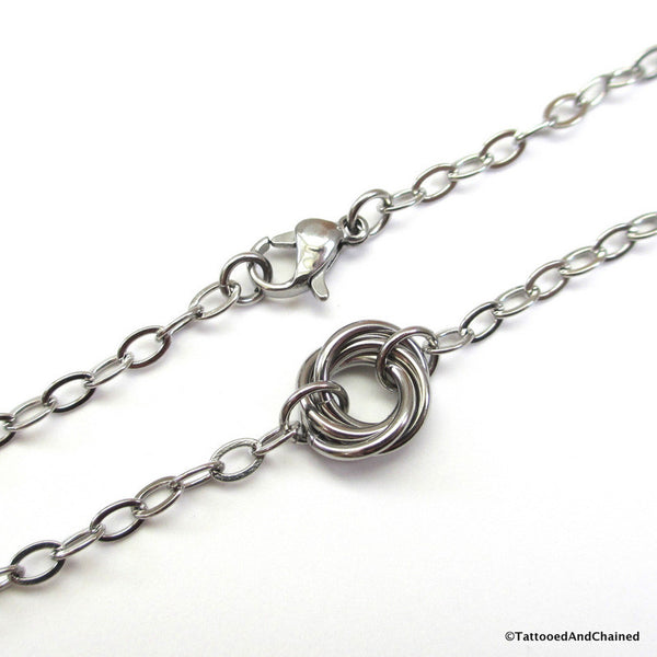 Stainless steel love knot anklet - Tattooed and Chained Chainmaille  - 4