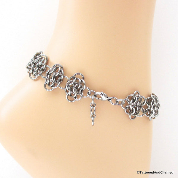 Stainless steel anklet, chainmaille rosettes weave - Tattooed and Chained Chainmaille  - 2
