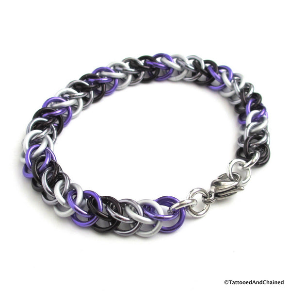 Ace pride bracelet, chainmaille half Persian 3 in 1 weave - Tattooed and Chained Chainmaille  - 2