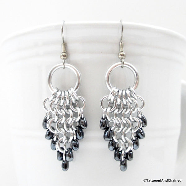 Hematite beaded chainmaille earrings, leaf shaped Euro 4 in 1 - Tattooed and Chained Chainmaille  - 5