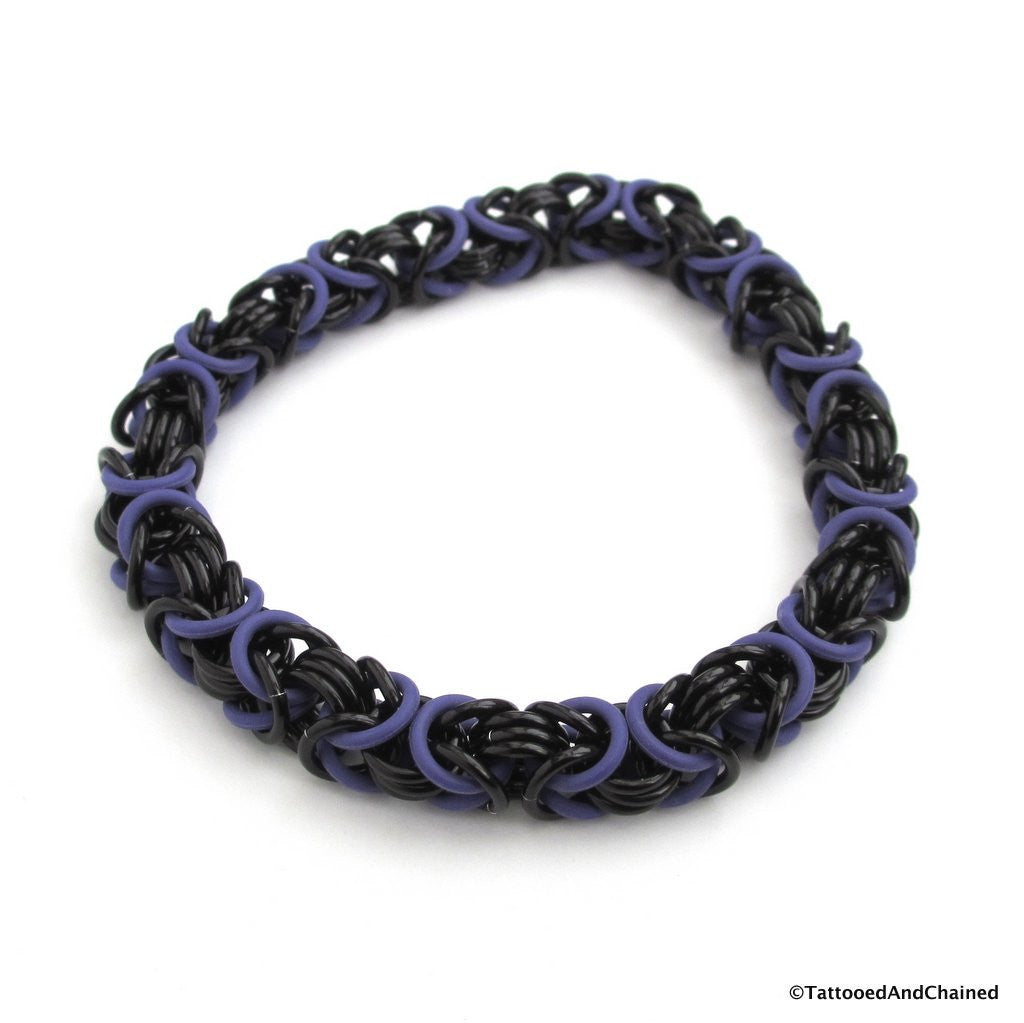 Byzantine chainmaille stretchy bracelet, purple and black - Tattooed and Chained Chainmaille  - 1