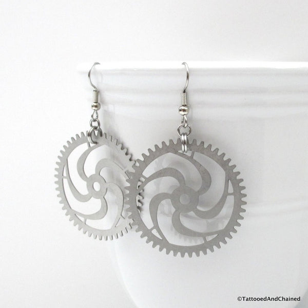 Large steampunk gear earrings, 5 spoke spiraled gear - Tattooed and Chained Chainmaille  - 5