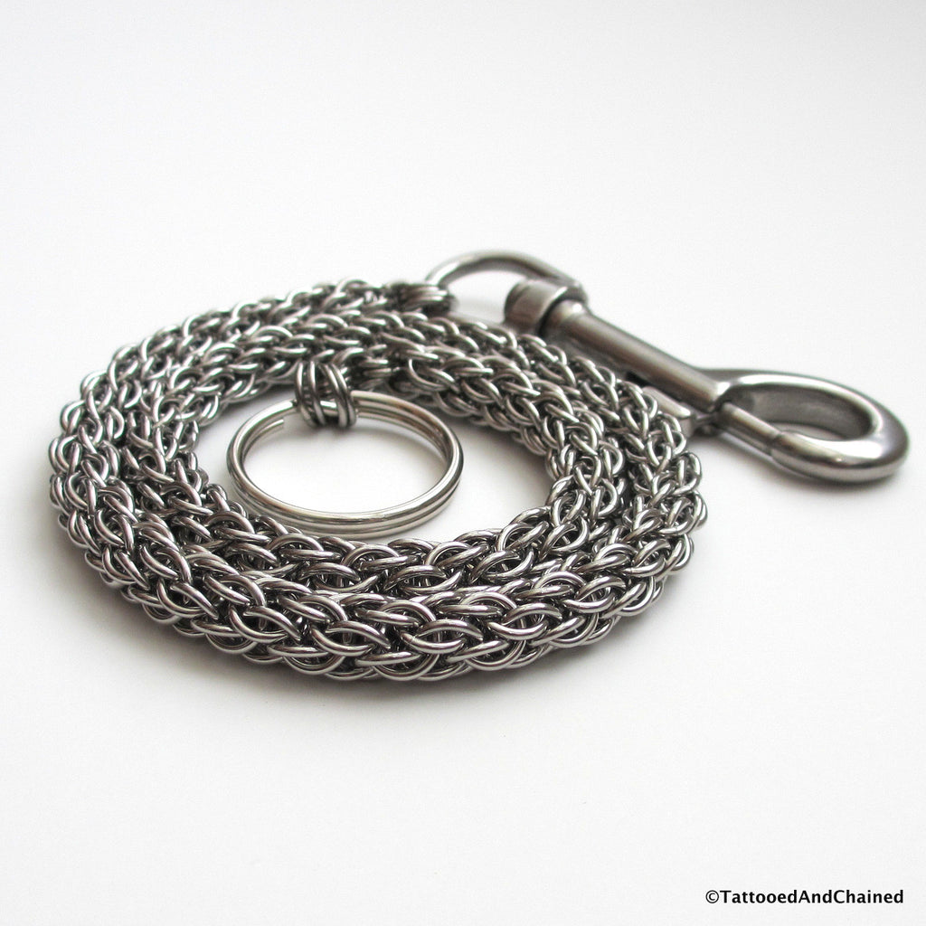 Stainless steel wallet chain, chainmaille candy cane cord weave - Tattooed and Chained Chainmaille  - 1