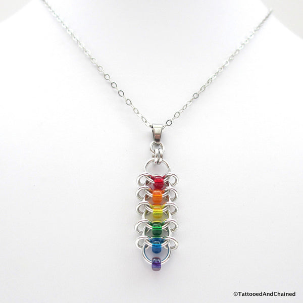 Rainbow pendant, chainmaille centipede weave gay pride jewelry - Tattooed and Chained Chainmaille  - 4