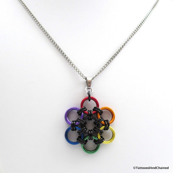 Gay pride pendant, rainbow chainmaille flower - Tattooed and Chained Chainmaille  - 5