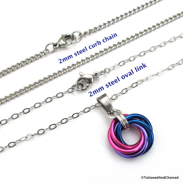 Bisexual pride chainmaille love knot pendant; pink, purple, blue - Tattooed and Chained Chainmaille  - 2