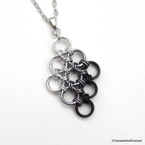 Black ombre chainmaille pendant, Japanese 12 in 2 diamond - Tattooed and Chained Chainmaille  - 1