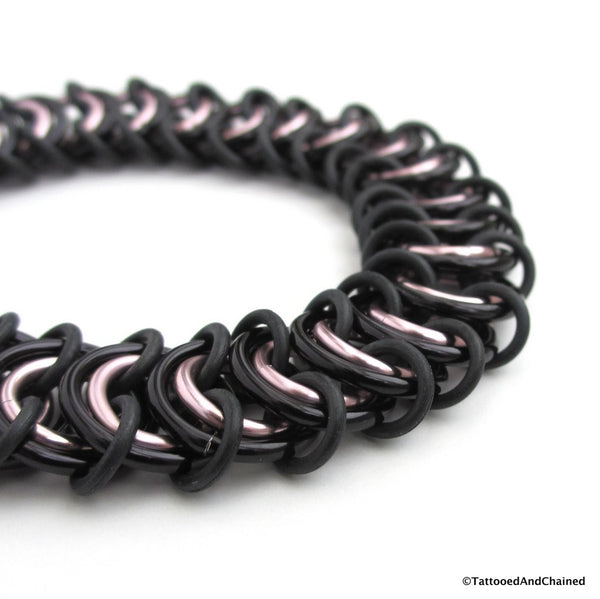 Chainmaille stretchy bracelet, vertebrae weave, pale pink and black - Tattooed and Chained Chainmaille  - 2