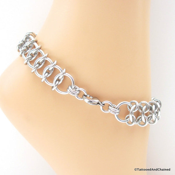 Centipede weave chainmaille anklet - Tattooed and Chained Chainmaille  - 3