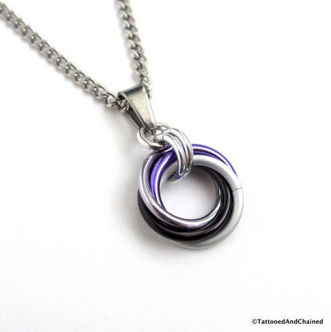 Ace pride chainmaille love knot pendant; black, gray, white, and purple - Tattooed and Chained Chainmaille - 1