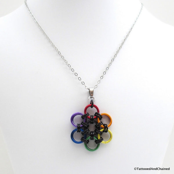 Gay pride pendant, rainbow chainmaille flower - Tattooed and Chained Chainmaille  - 4