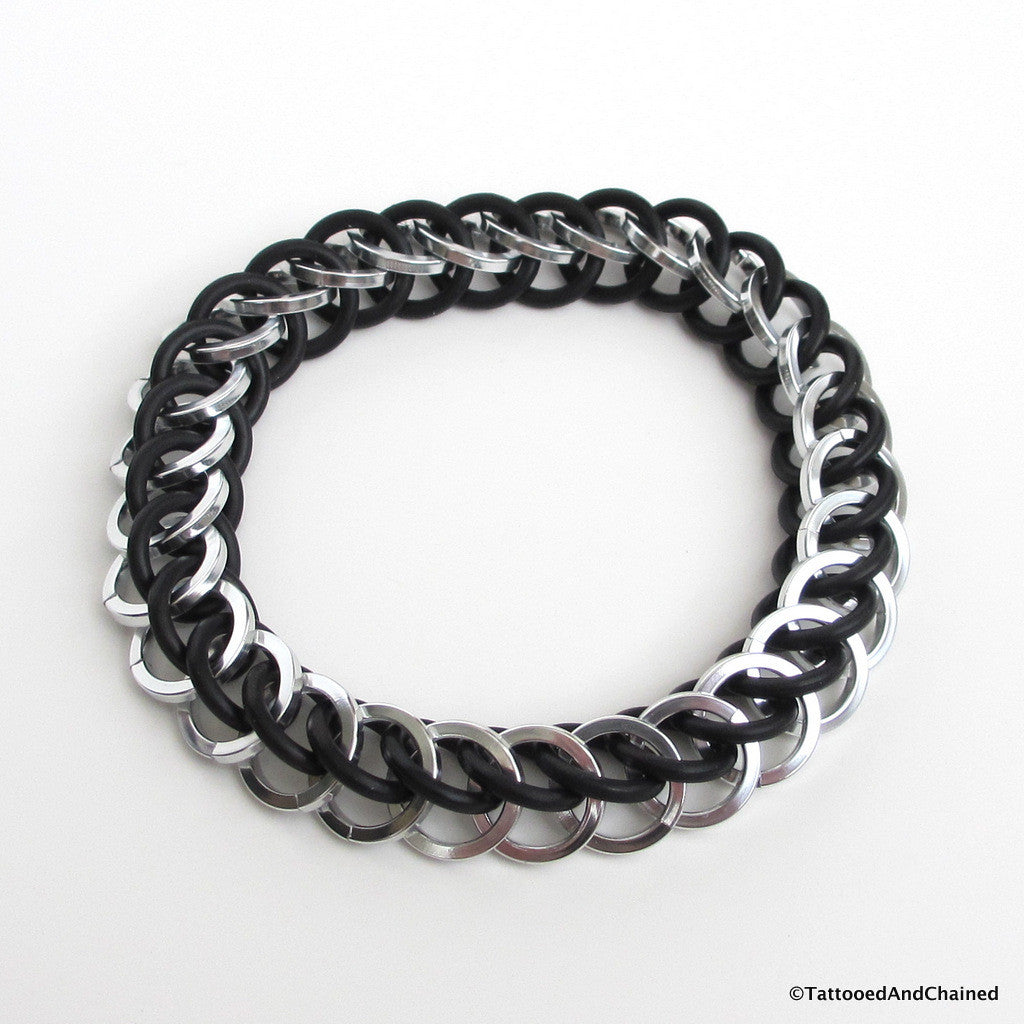 Half Persian 3 in 1 chainmaille stretchy bracelet, silver and black square wire - Tattooed and Chained Chainmaille  - 1
