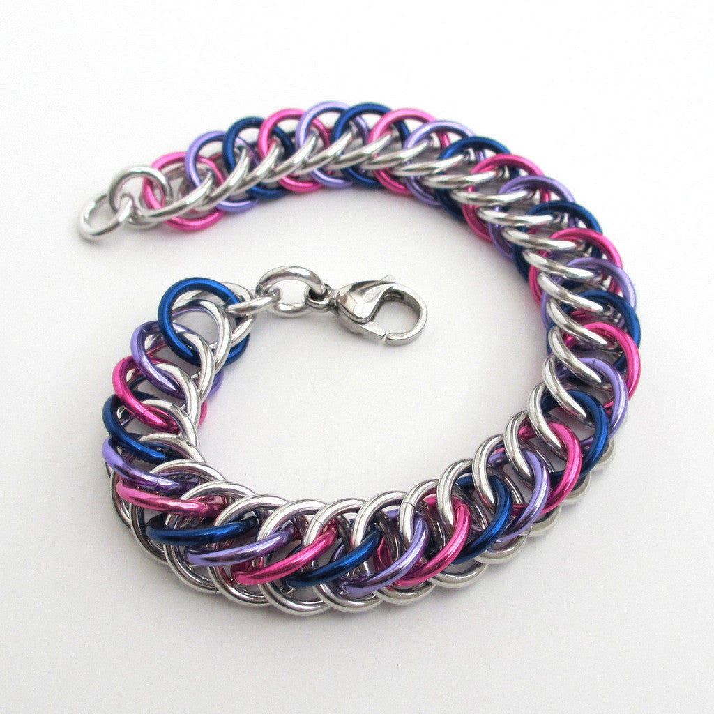 Bi pride bracelet, chainmaille half Persian 4 in 1 weave - Tattooed and Chained Chainmaille  - 1