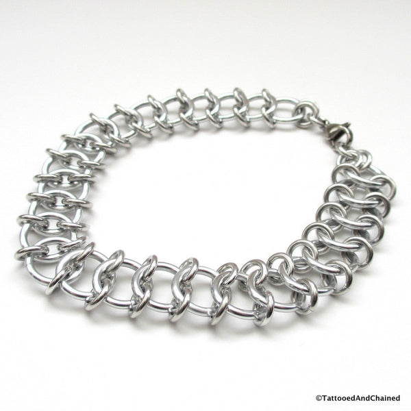 Centipede weave chainmaille anklet - Tattooed and Chained Chainmaille  - 4