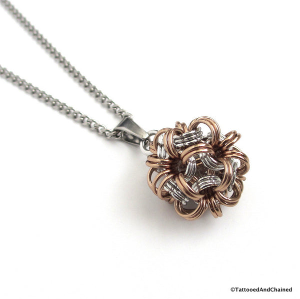 Tan chainmaille dodecahedron pendant - Tattooed and Chained Chainmaille  - 1