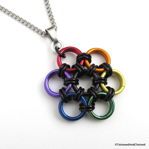 Gay pride pendant, rainbow chainmaille flower - Tattooed and Chained Chainmaille  - 1