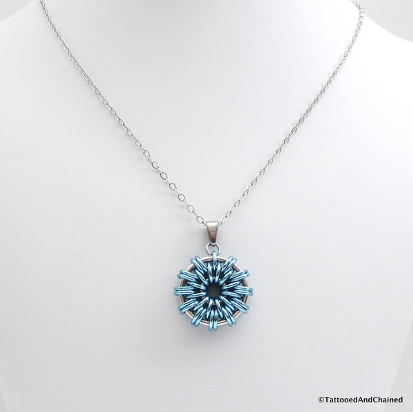 Turquoise chainmaille pendant - Tattooed and Chained Chainmaille  - 3