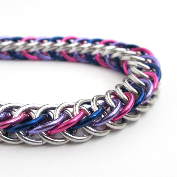 Bi pride bracelet, chainmaille half Persian 4 in 1 weave - Tattooed and Chained Chainmaille  - 2