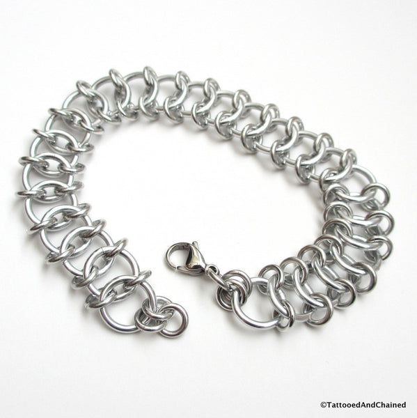 Centipede weave chainmaille anklet - Tattooed and Chained Chainmaille  - 5